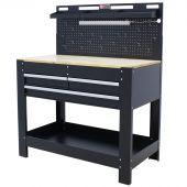George Tools werkbank met wand & LED 3 lades Eiken 115 cm zwart