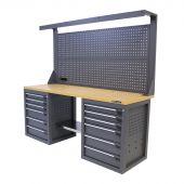 Kraftmeister werkbank met wand 12 lades MDF 200 cm grijs