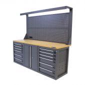 Kraftmeister werkbank met wand 12 lades 2 deuren MDF 200 cm grijs