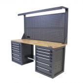 Kraftmeister werkbank met wand 12 lades eiken 200 cm grijs