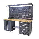 Kraftmeister werkbank met wand 6 lades 2 deuren MDF 200 cm grijs