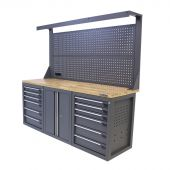 Kraftmeister werkbank met wand 12 lades 2 deuren Eiken 200 cm grijs