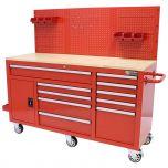 George Tools Mobiele Werkbank 62 inch 10 laden rood